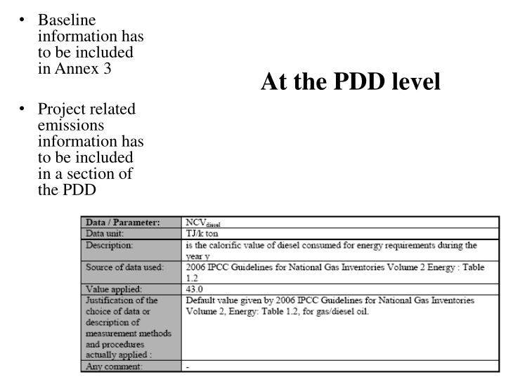 At the PDD level