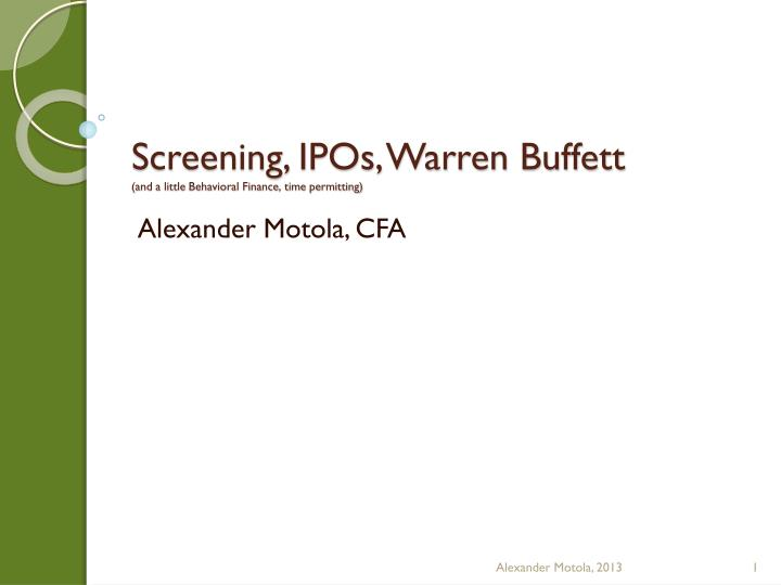 screening ipos warren buffett and a little behavioral finance time permitting n.
