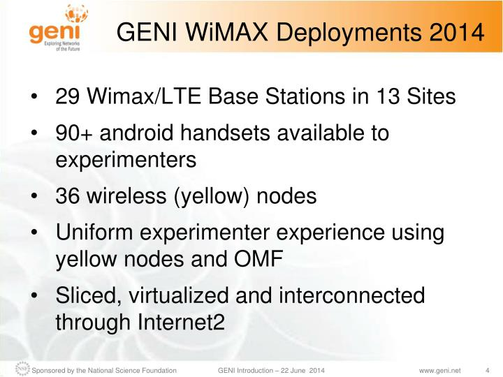 GENI WiMAX Deployments 2014