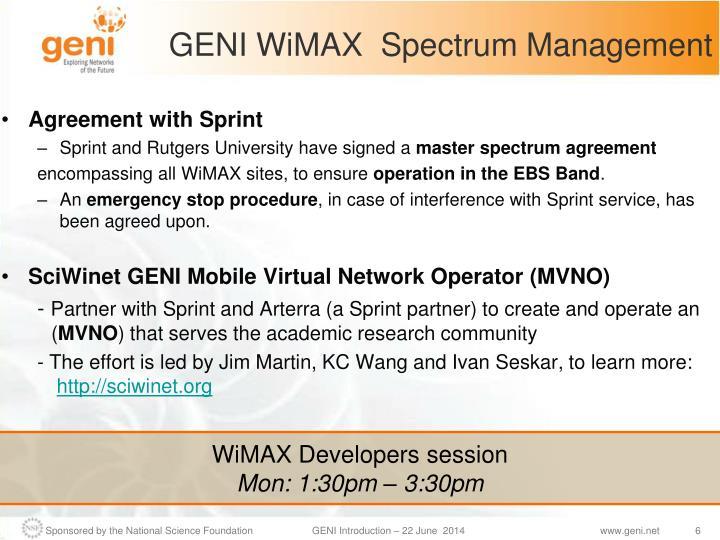 GENI WiMAX  Spectrum Management