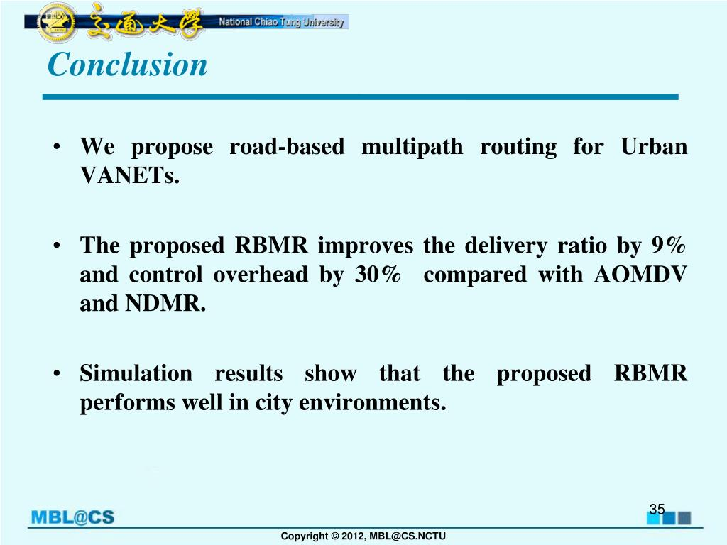 PPT - Road-Based Multipath Routing in Urban VANETs