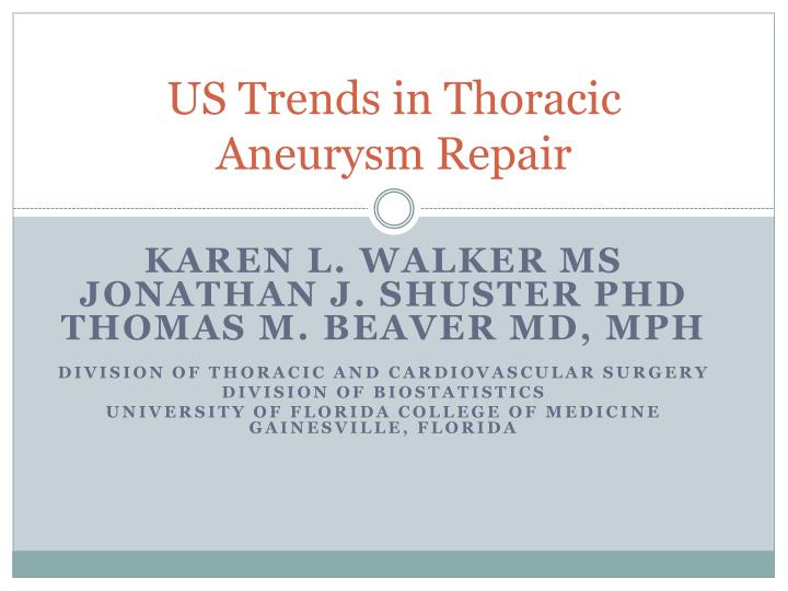us trends in thoracic aneurysm repair n.