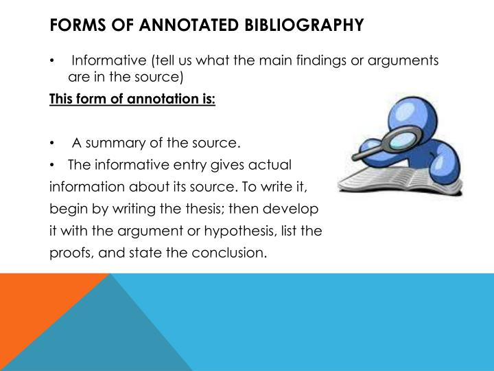 Forms of annotated bibliography
