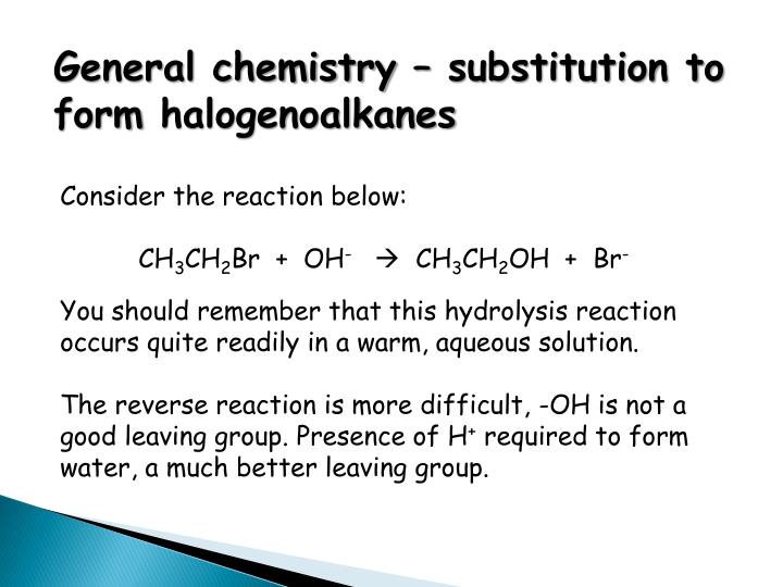 General chemistry – substitution to form