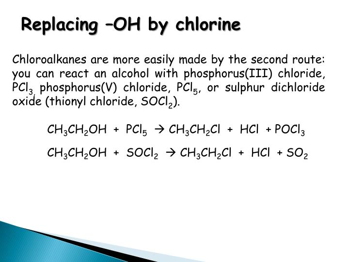 Replacing –OH by chlorine