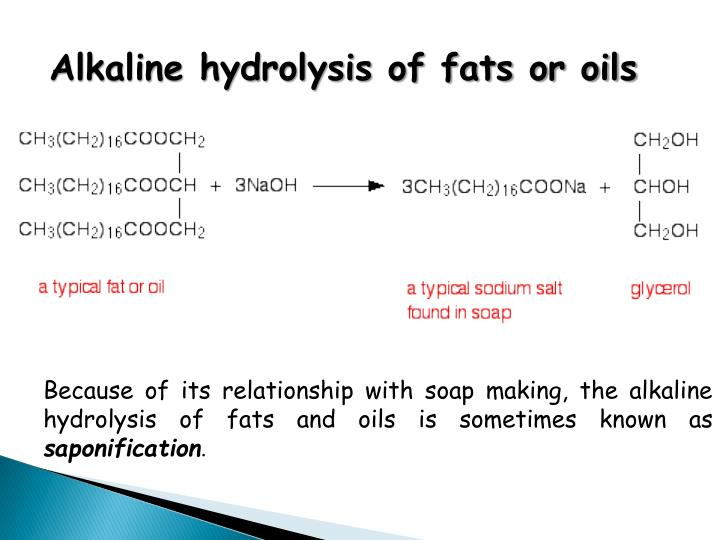 Alkaline hydrolysis of fats or oils