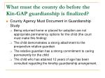 what must the county do before the kin gap guardianship is finalized