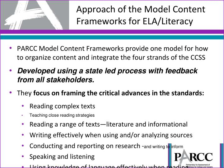 Approach of the Model Content Frameworks for ELA/Literacy