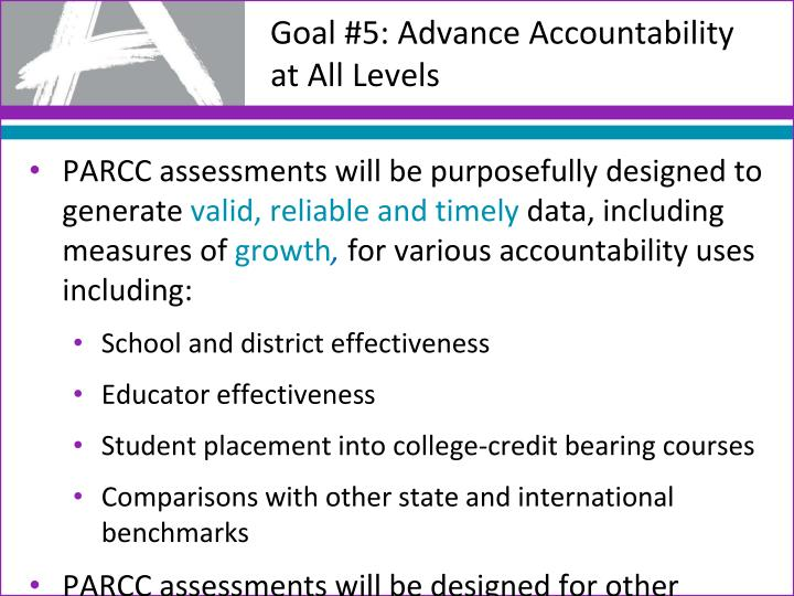 PARCC assessments will be purposefully designed to generate