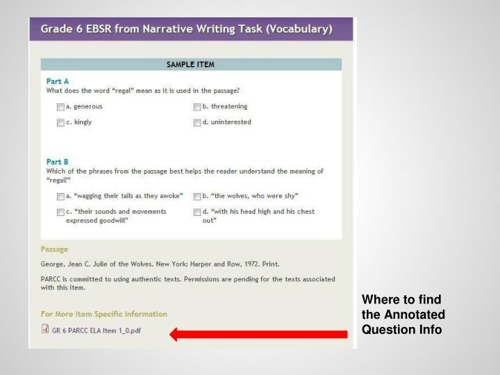 Where to find the Annotated Question Info