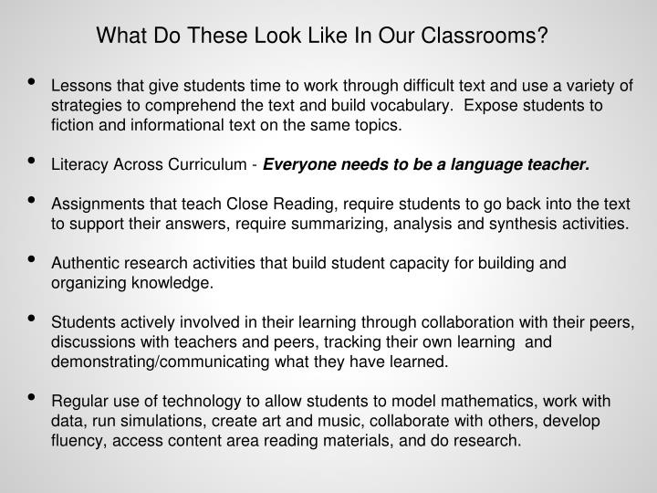 What Do These Look Like In Our Classrooms?