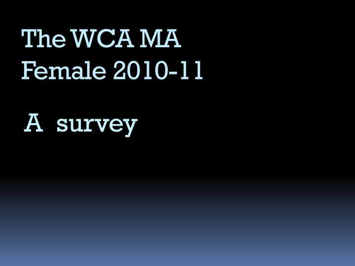 the wca ma female 2010 11 n.