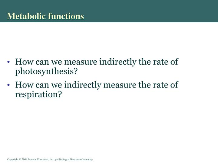 Metabolic functions