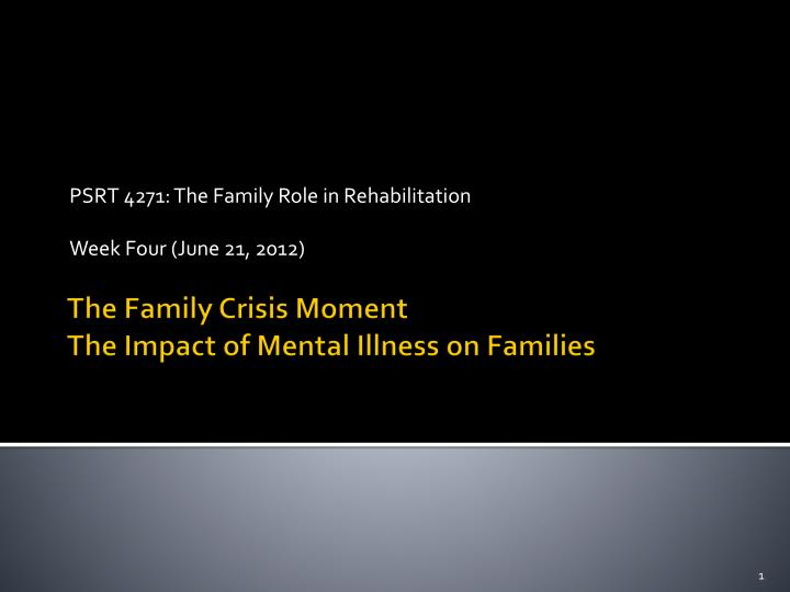 psrt 4271 the family role in rehabilitation week four june 21 2012 n.