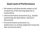 goal level of performance