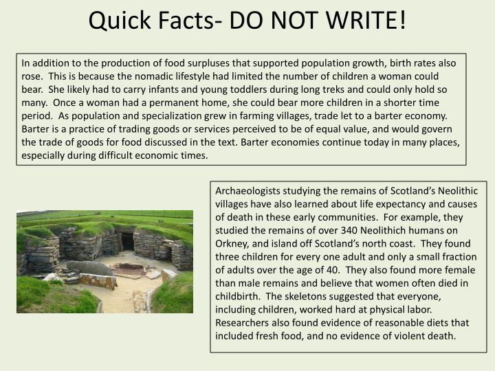 Quick Facts- DO NOT WRITE!