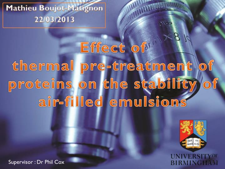 Effect of thermal pre treatment of proteins on the stability of air filled emulsions