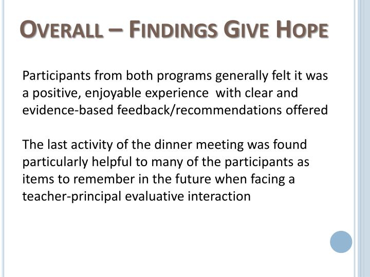 Overall – Findings Give Hope