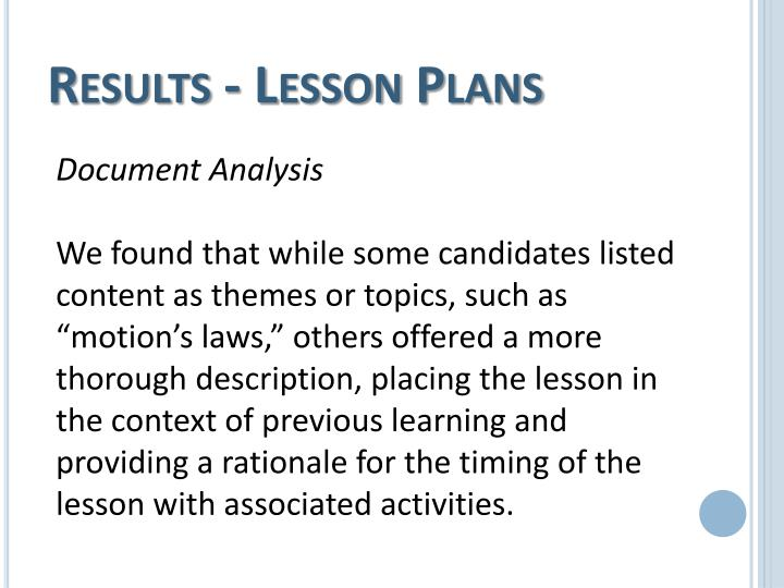 Results - Lesson Plans