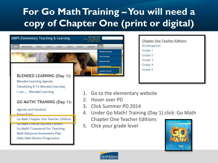 for go math training you will need a copy of chapter one print or digital n.
