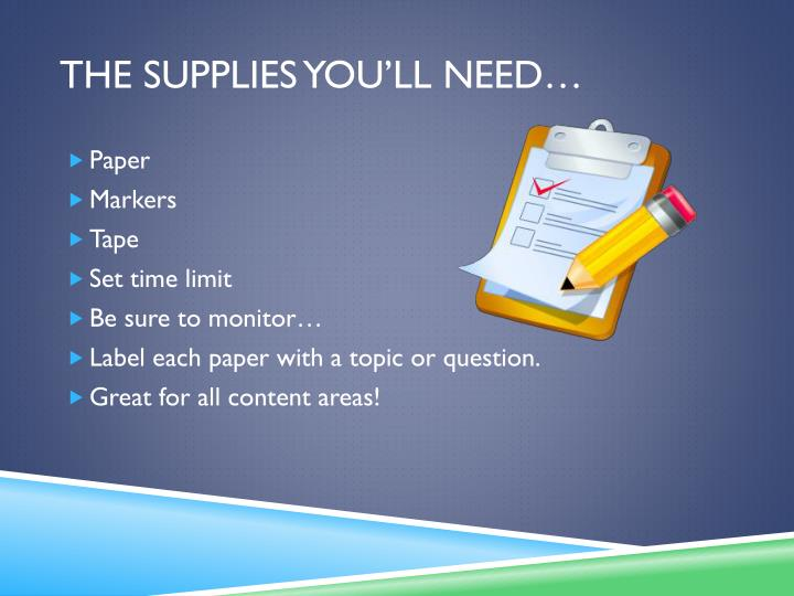 The supplies you'll need…