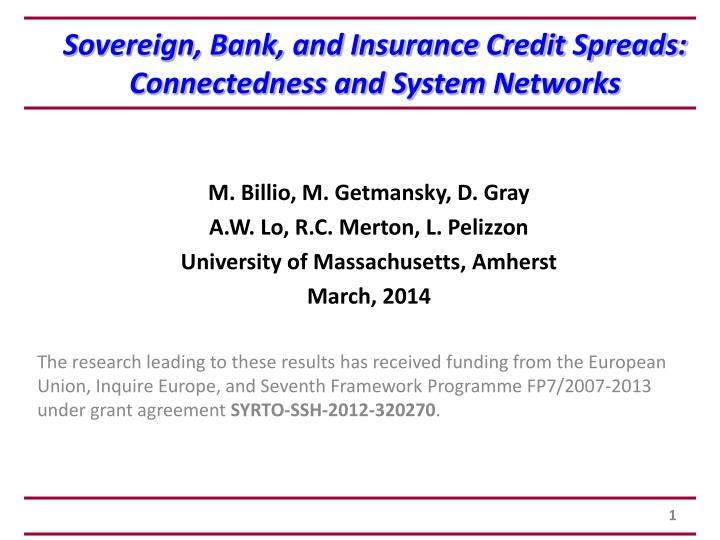 sovereign bank and insurance credit spreads connectedness and system networks