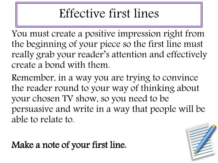 Effective first lines