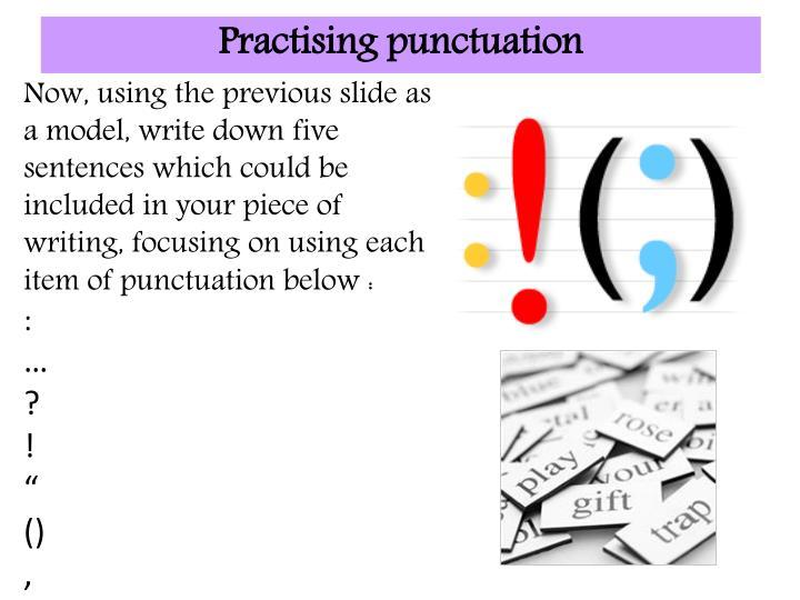 Practising punctuation