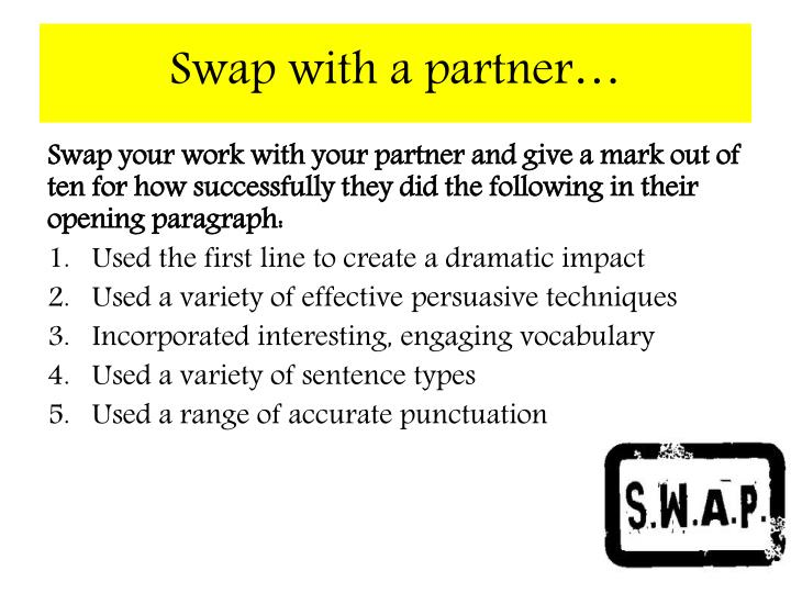 Swap with a partner…