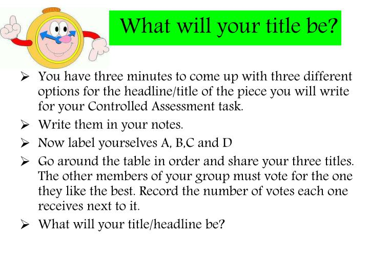 What will your title be?