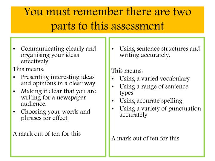 You must remember there are two parts to this assessment