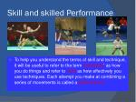 skill and skilled performance
