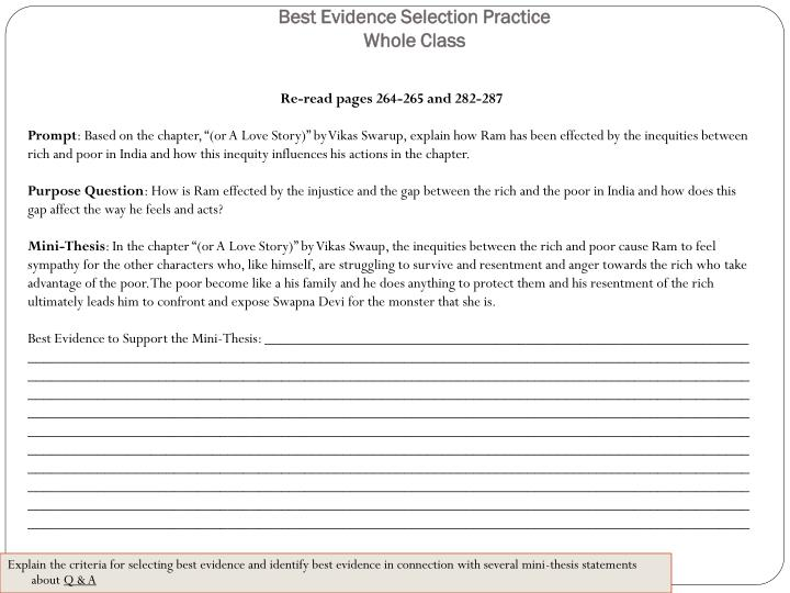 Best Evidence Selection Practice