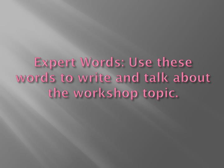 Expert words use these words to write and talk about the workshop topic