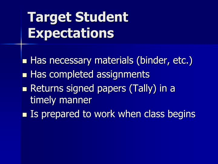 Target Student Expectations