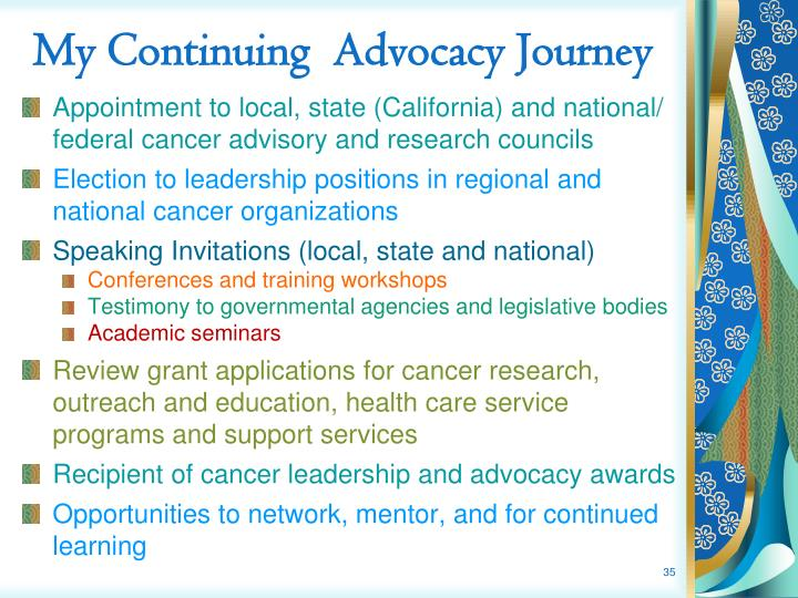 My Continuing  Advocacy Journey