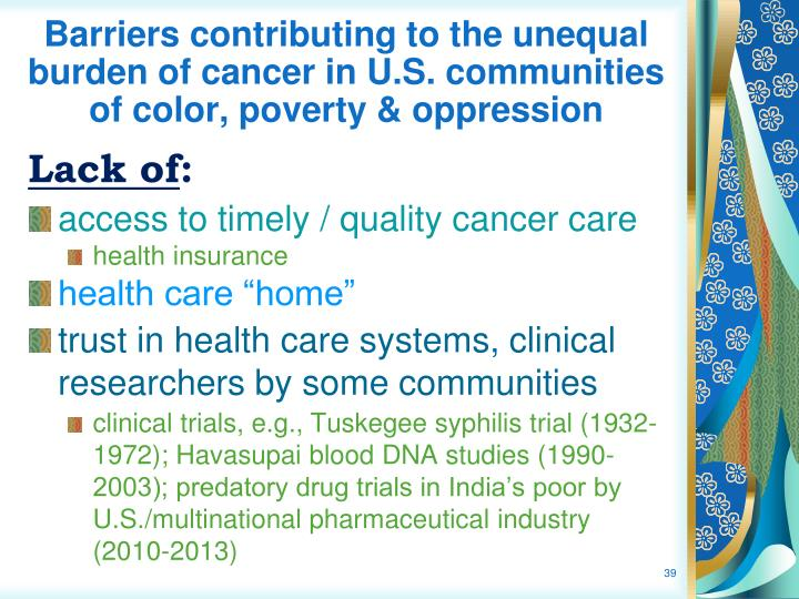 Barriers contributing to the unequal burden of cancer in U.S. communities of color, poverty & oppression