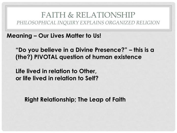 Faith & Relationship