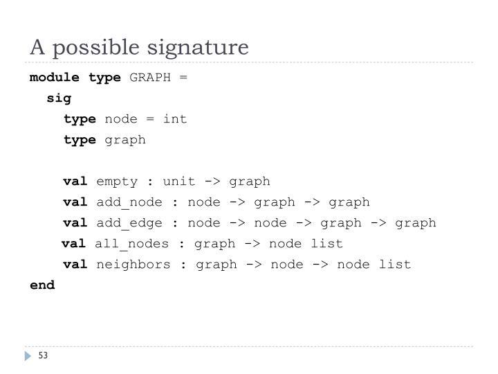 A possible signature