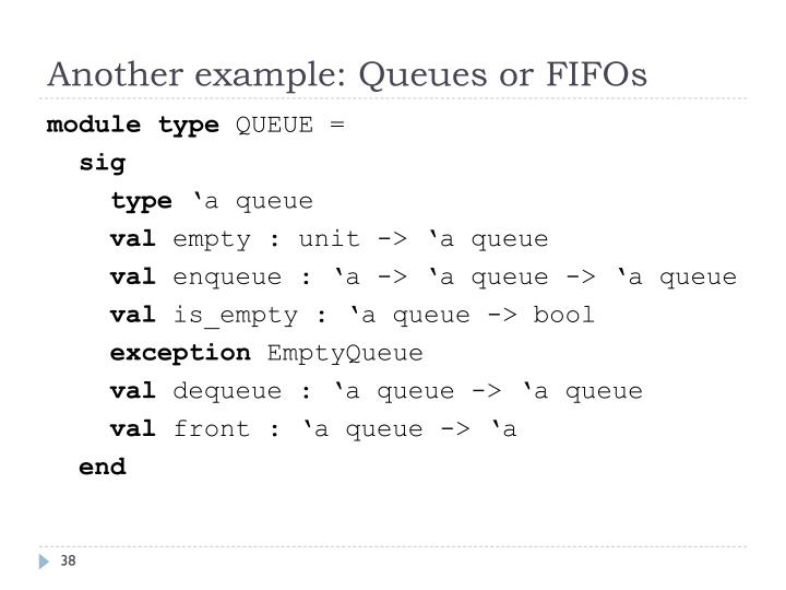 Another example: Queues or