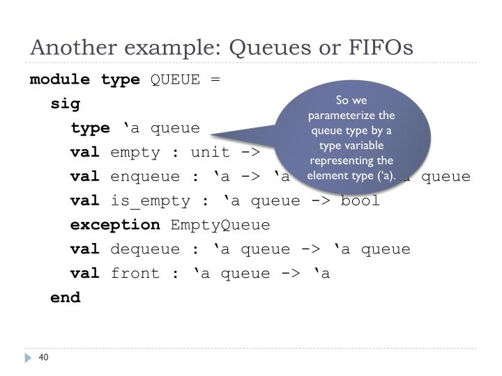 Another example: Queues or FIFOs