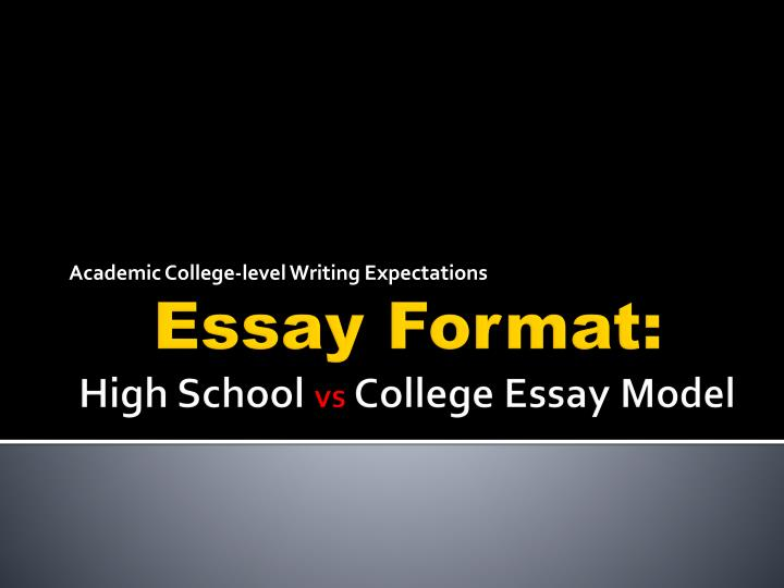 essay format college level This resource begins with a general description of essay writing and moves to a discussion of common essay genres students may encounter across the curriculum.