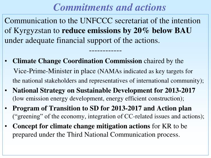 Commitments and actions