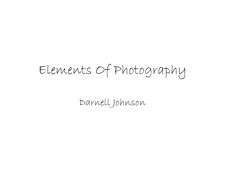 elements o f photography n.