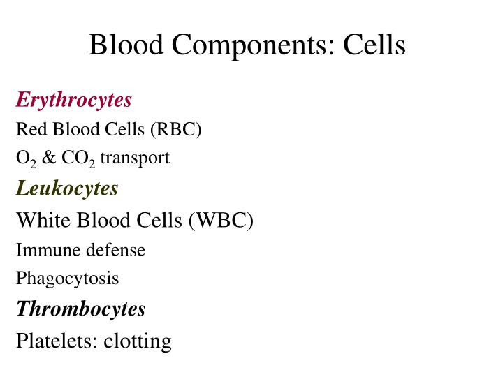 Blood Components: Cells