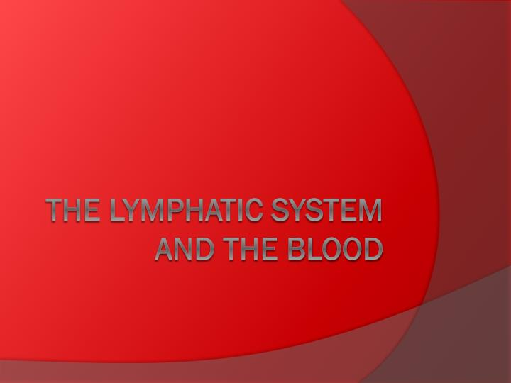 the lymphatic system and the blood n.