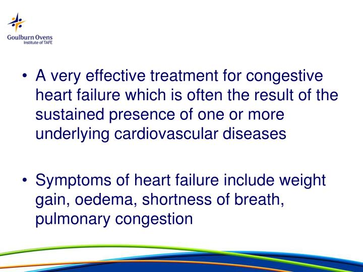 A very effective treatment for congestive heart failure which is often the result of the sustained presence of one or more underlying cardiovascular diseases
