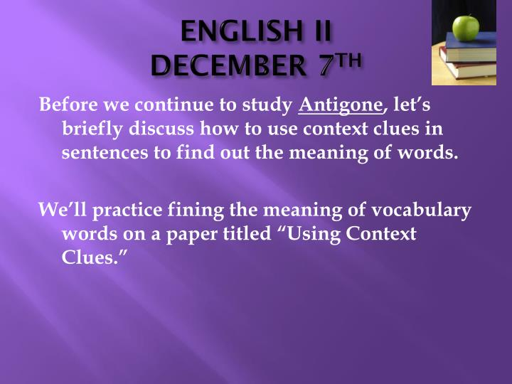 english ii december 7 th n.