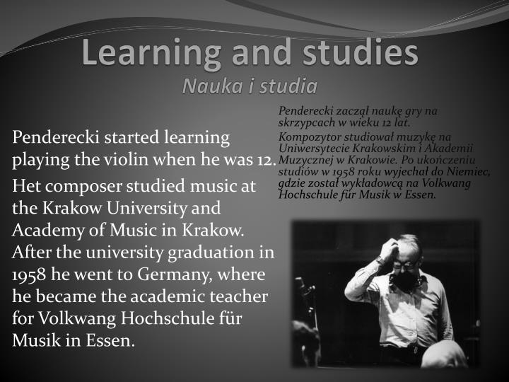 Learning and studies