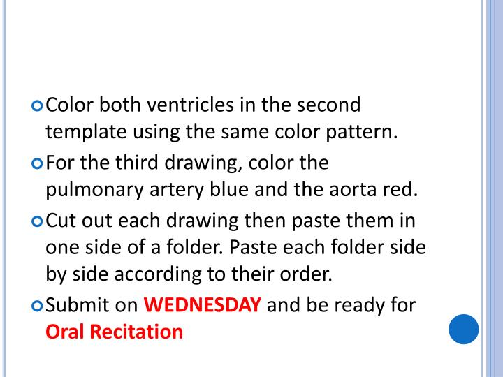 Color both ventricles in the second template using the same color pattern.